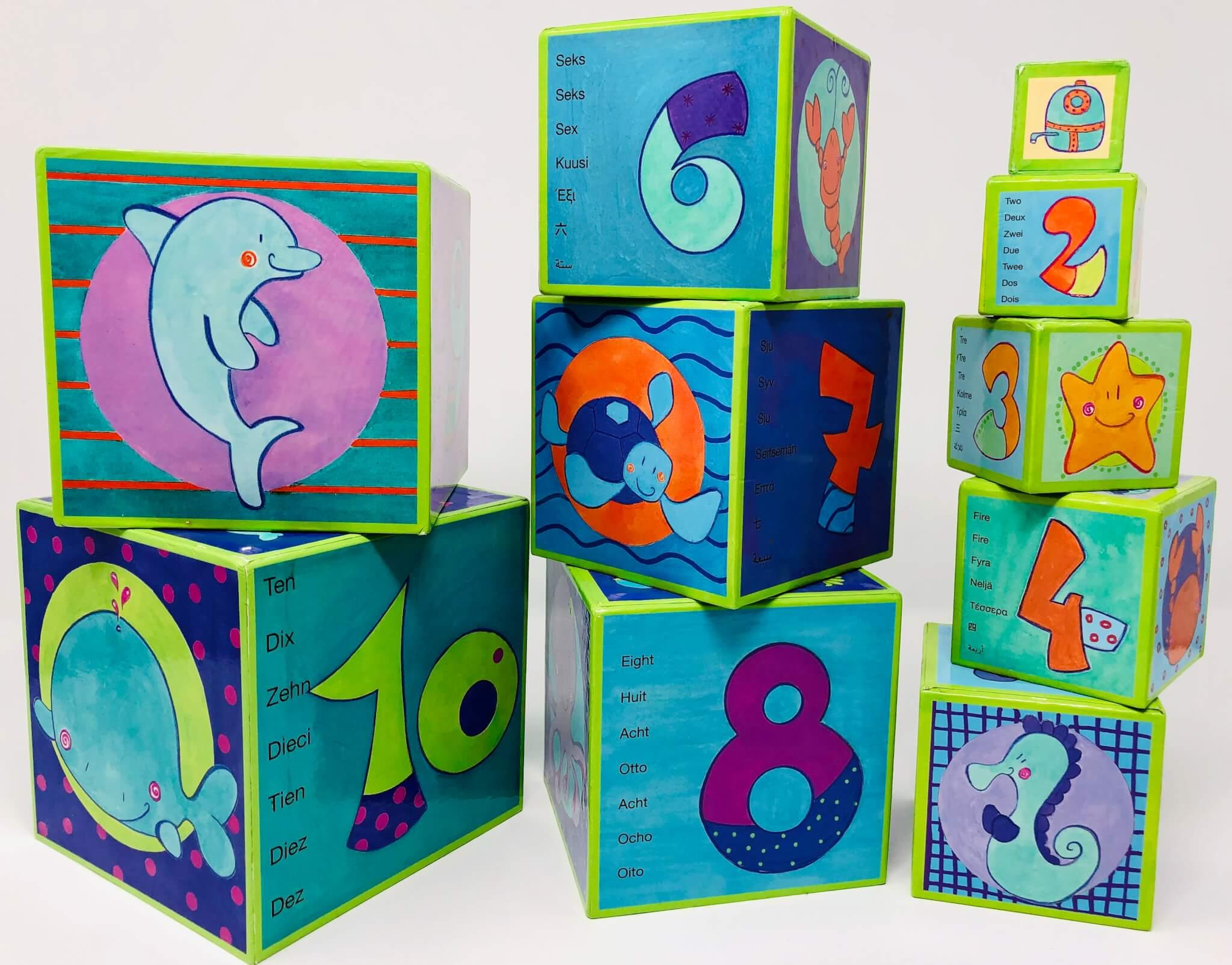 Cubes à empiler/encastrer (chiffres & créatures marines) (Toys' R US)